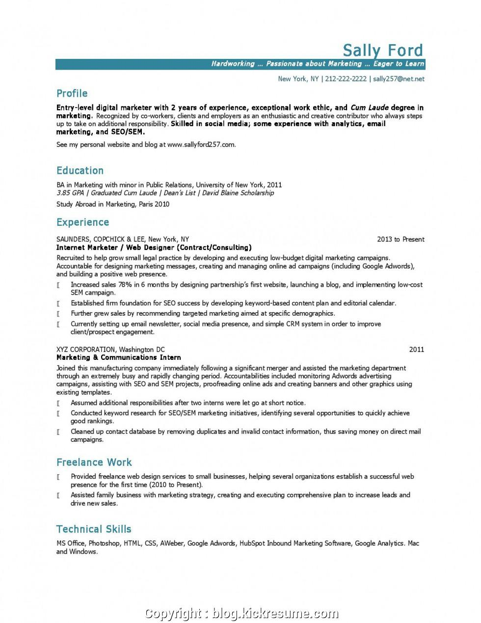 21 Excellent Entry Level Marketing Resume with Gallery