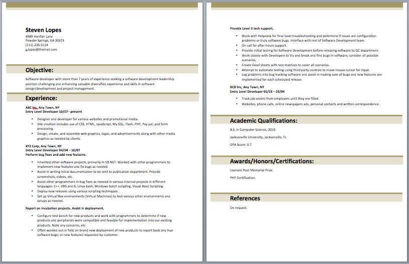 21 Fresh Entry Level Software Developer Resume Sample with Ideas