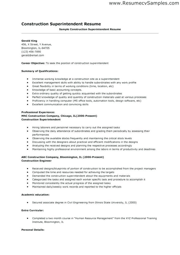 21 Great Construction Superintendent Resume Cover Letter Examples by Ideas