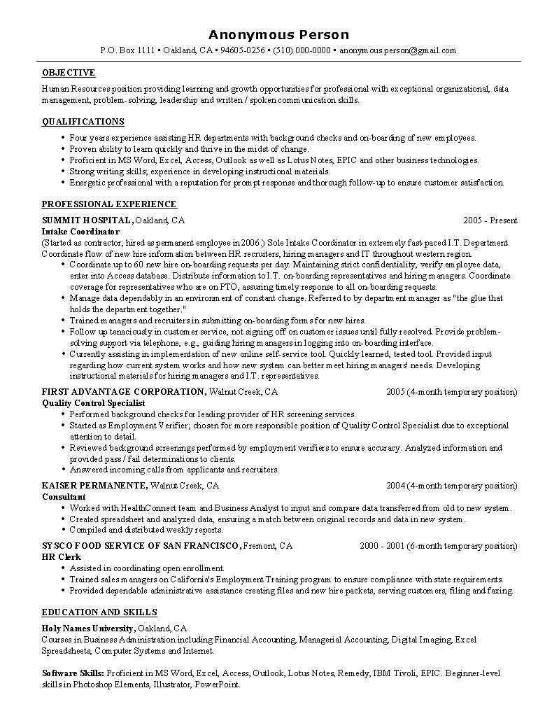 21 Great Entry Level Human Resources Resume with Ideas