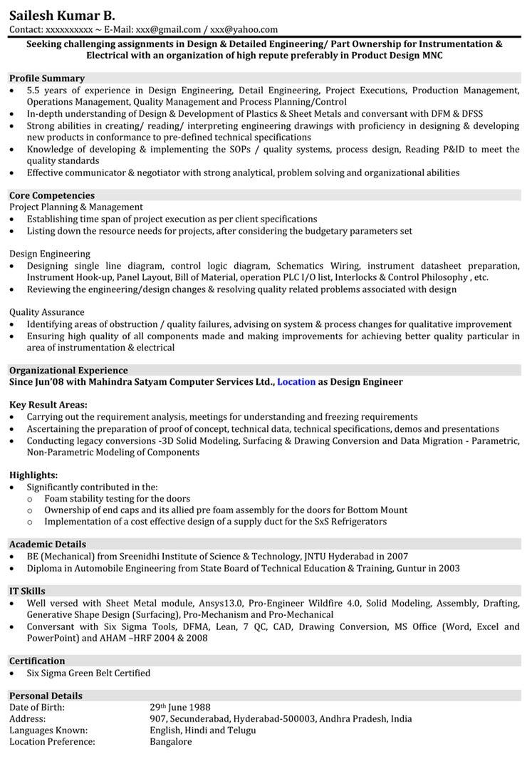 21 Stunning Mechanical Engineer Resume Sample with Gallery