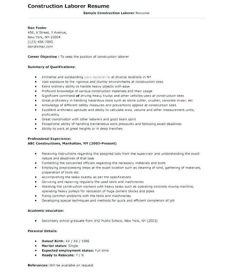 21 Top General Labour Resume Sample With Pics