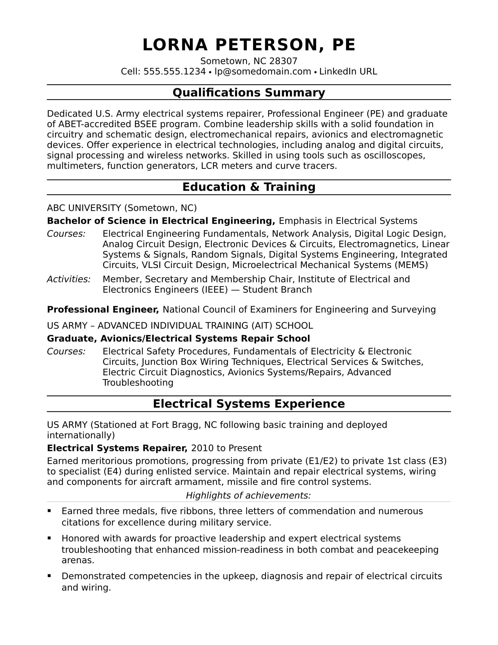 22 Fresh Electrical Engineering Resume Sample For Freshers for Images