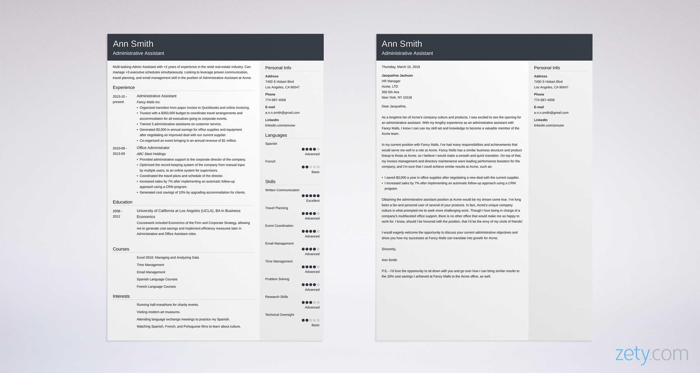 22 New Examples Of Resume Cover Letters For Administrative Assistants by Graphics