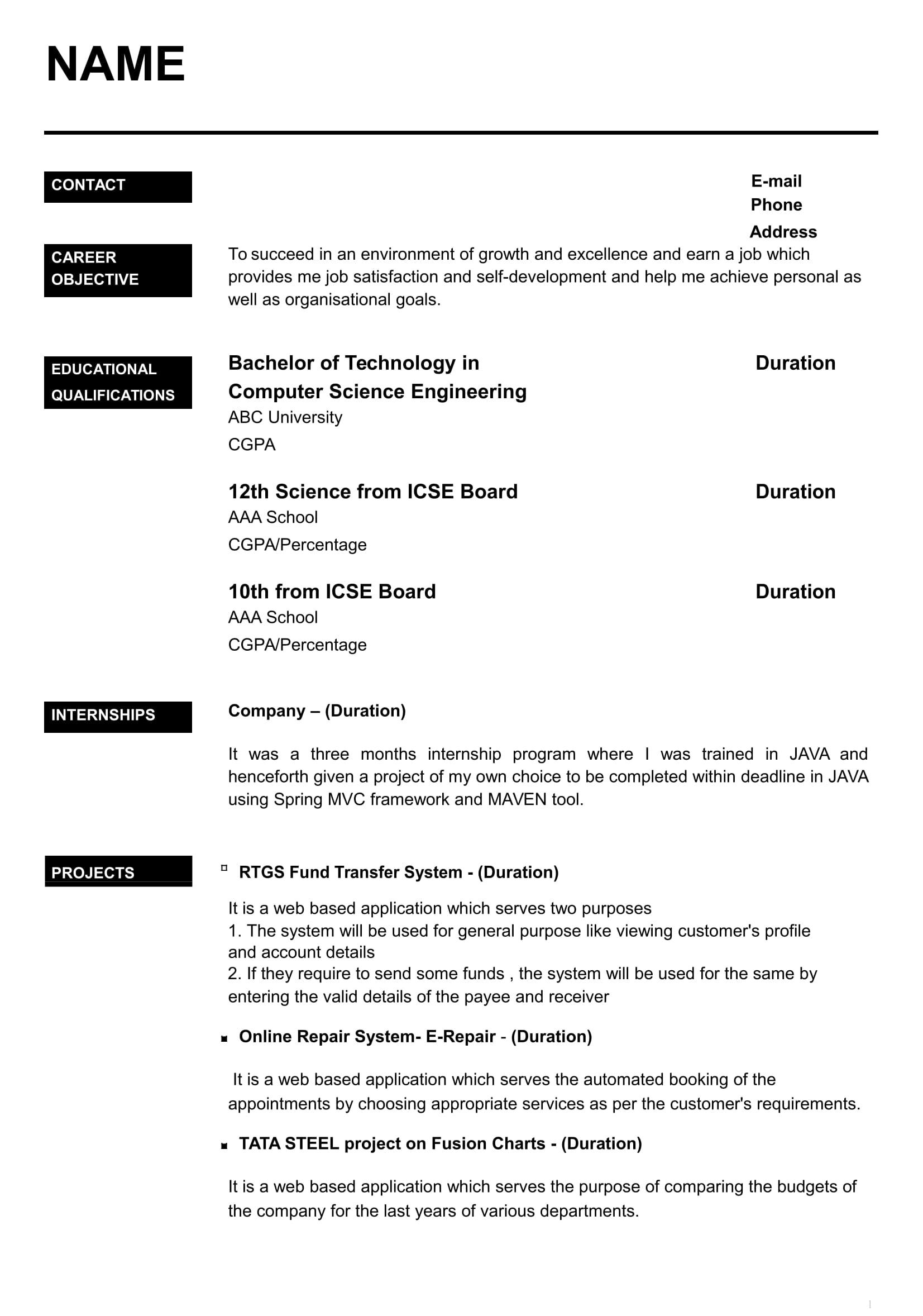 23 Best Resume Format For Freshers by Gallery