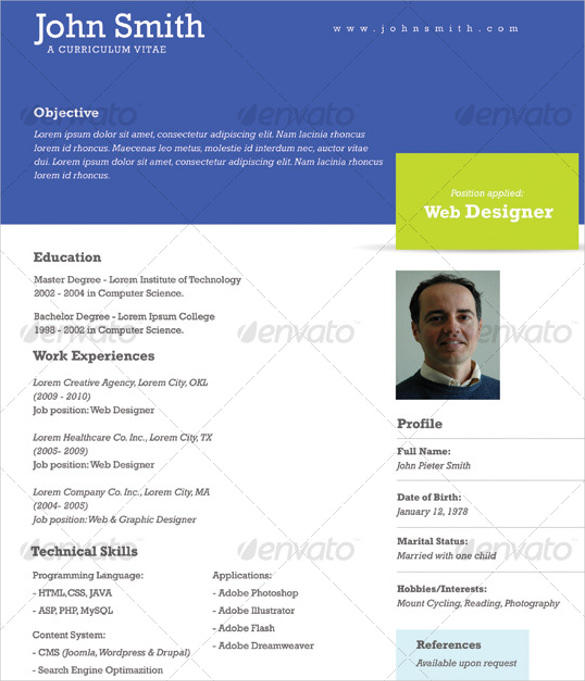 23 New One Page Resume Site by Graphics