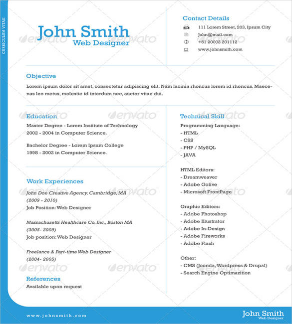 23 Stunning Free 1 Page Resume Template by Gallery