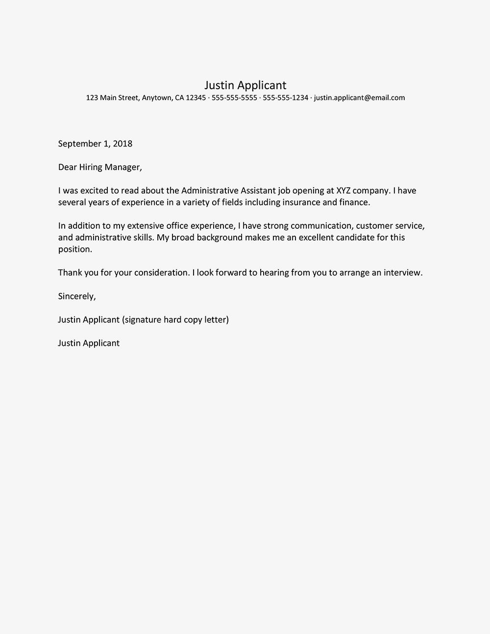 24 Excellent Administration Cover Letter Sample by Ideas