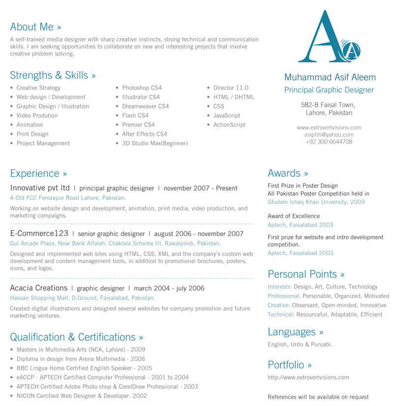 24 Fresh One Page Curriculum Vitae for Graphics