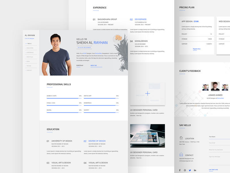 24 New One Page Resume Site for Design