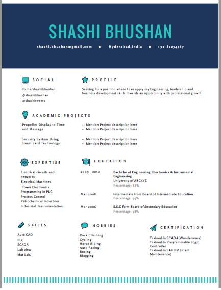 25 Inspirational Resume Format For Freshers with Design