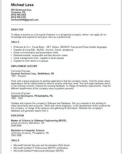26 Beautiful Computer Engineering Resume for Images
