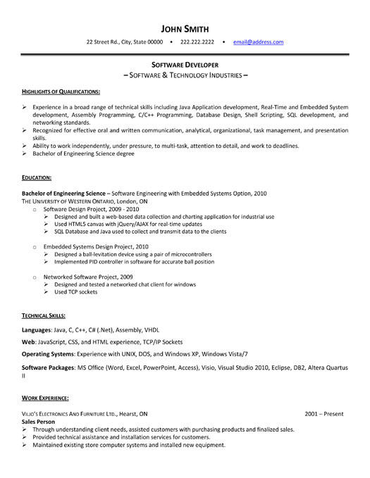 26 Inspirational Entry Level Software Developer Resume Sample for Gallery