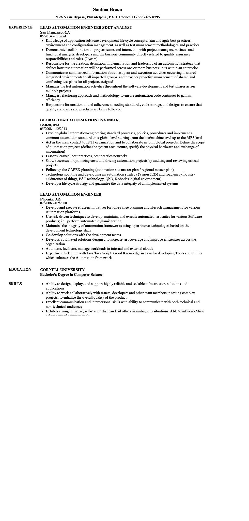 26 Nice Automation Engineer Resume for Design