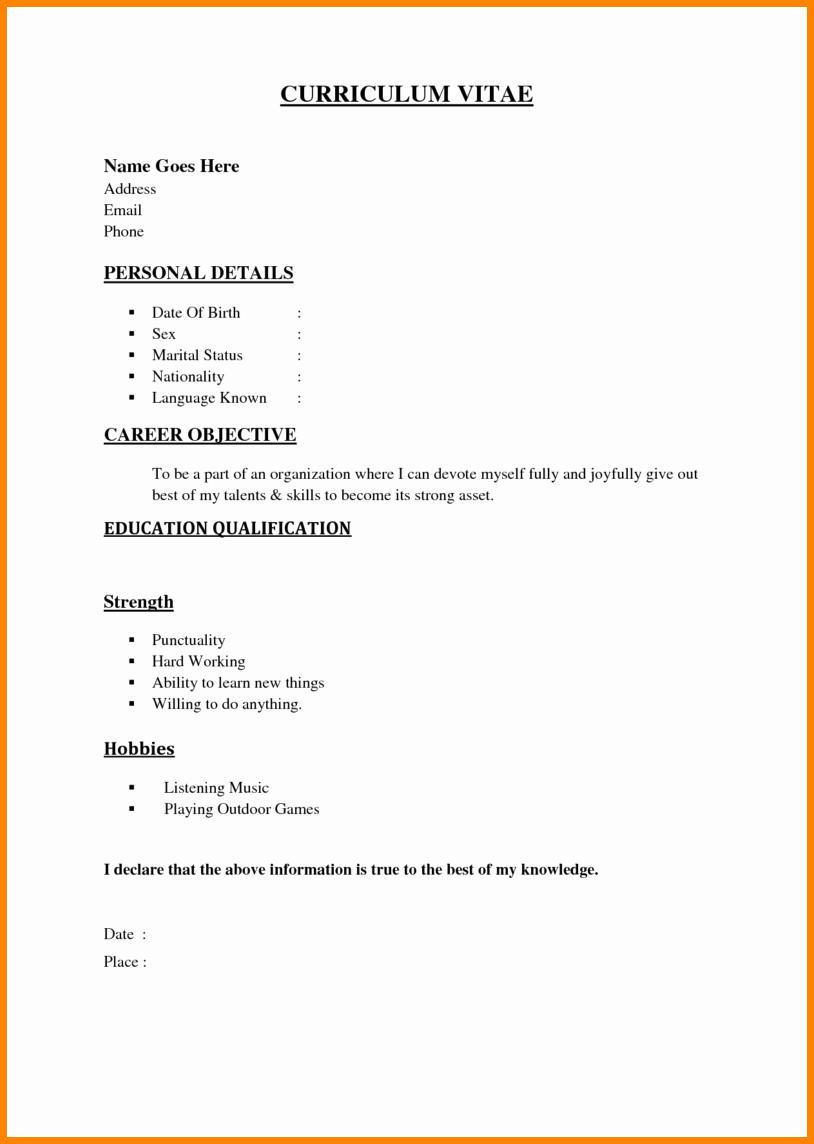 26 Nice Basic Resume Format For Job with Pictures