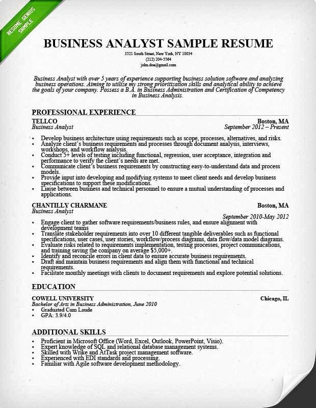 27 Excellent Business Analyst Resume Examples 2018 with Images
