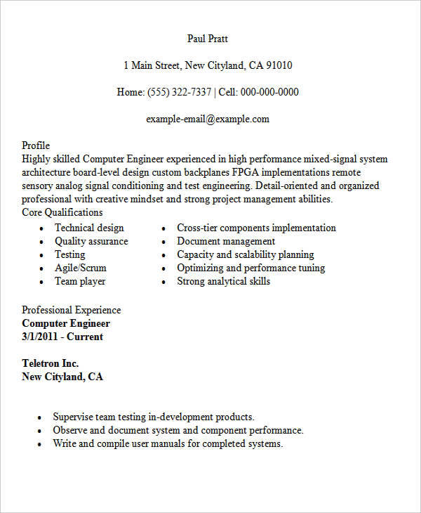 27 Inspirational Computer Engineering Resume for Pics