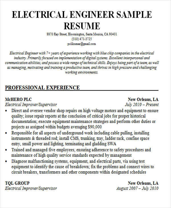 28 Top Electrical Engineering Resume Sample For Freshers with Design