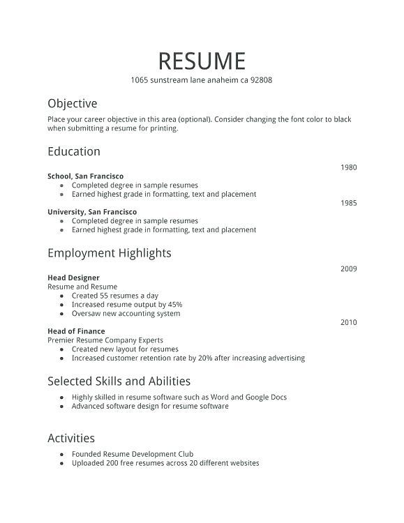 30 Best Basic Resume Format For Job for Graphics