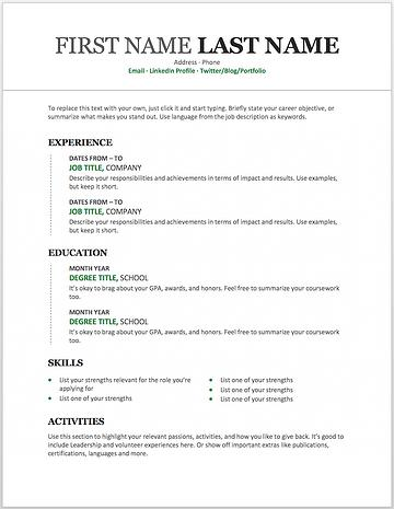 31 New Free Microsoft Office Resume Templates with Ideas