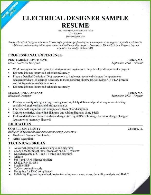 32 Best Electrical Engineering Resume Sample For Freshers with Design