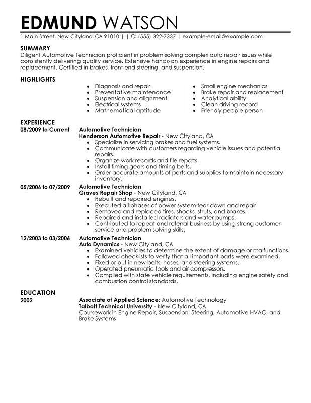 32 Excellent Auto Mechanic Resume Objective Examples for Gallery