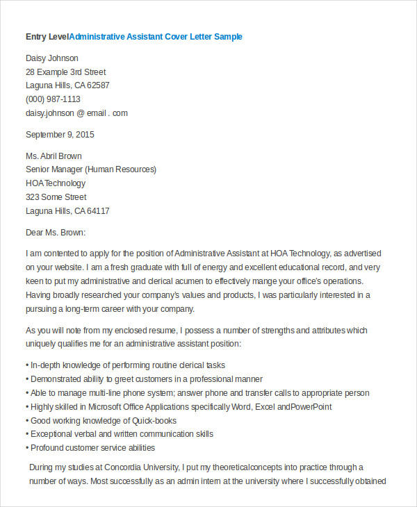 32 Great Examples Of Resume Cover Letters For Administrative Assistants with Pictures