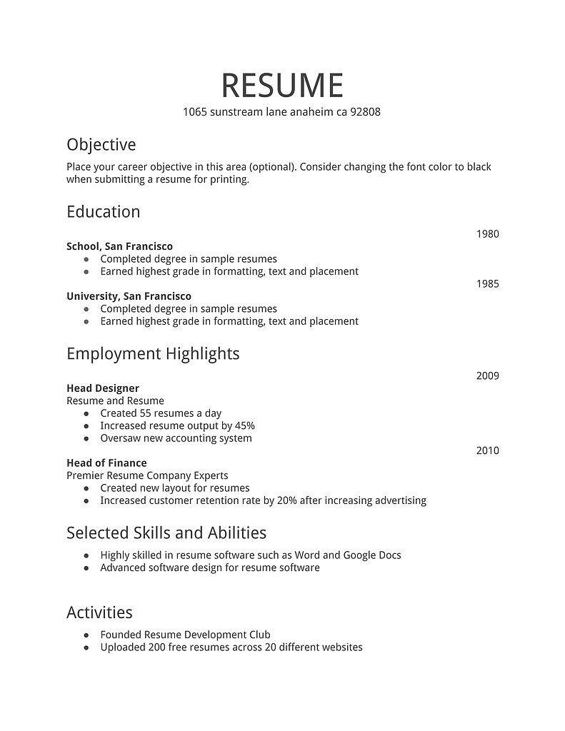 33 Lovely Basic Resume Format For Job with Pics