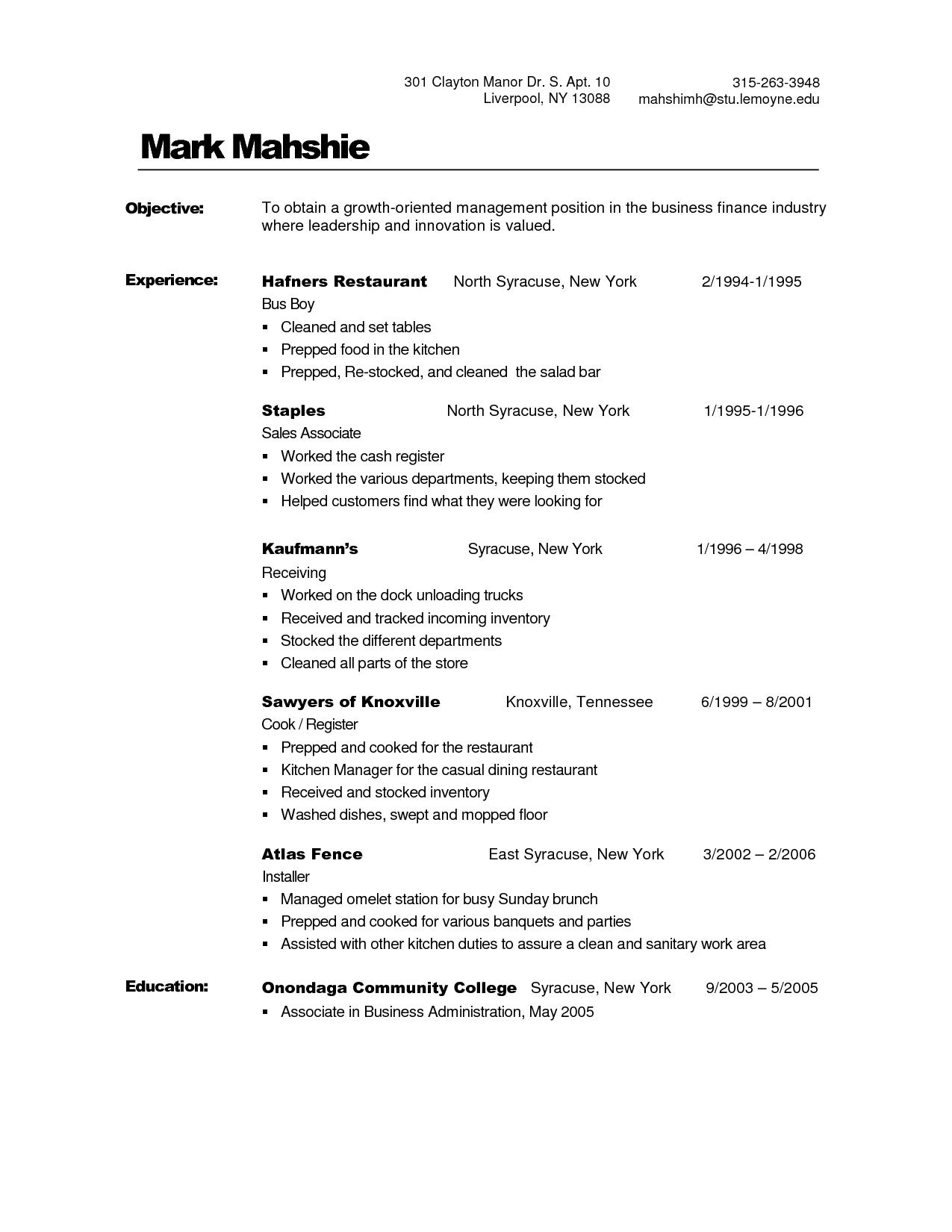 34 Fresh Busboy Resume by Graphics