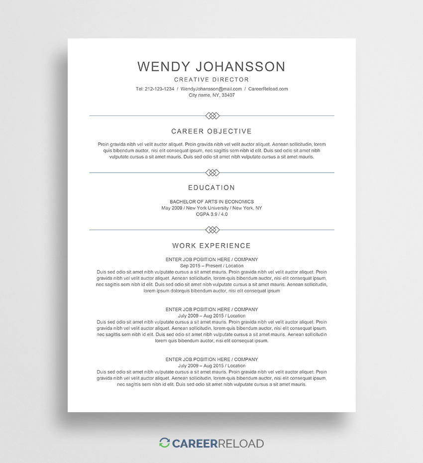 34 Nice Free Resume Templates For Mac for Pics