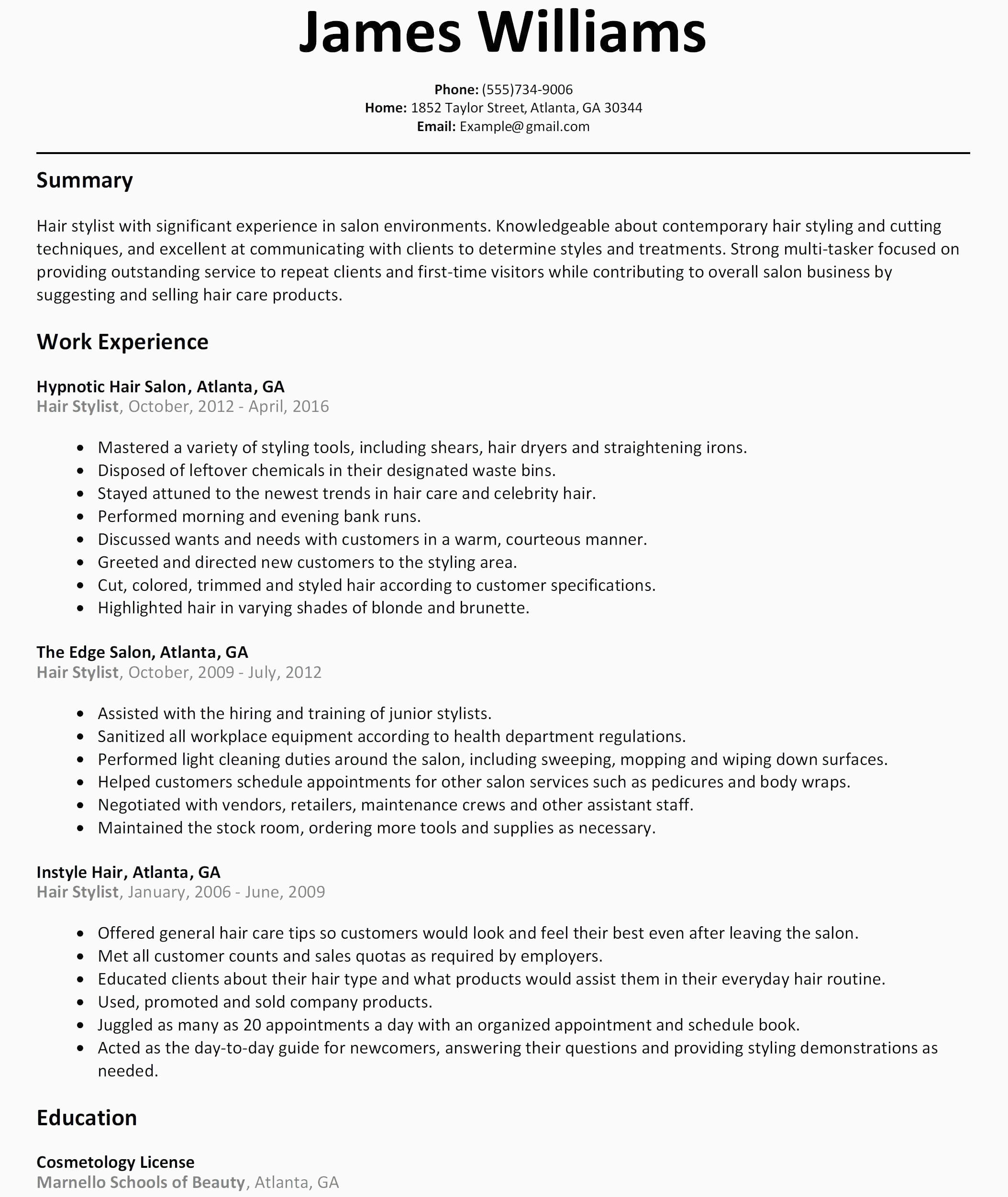35 Inspirational Barber Resume Sample Objectives with Ideas