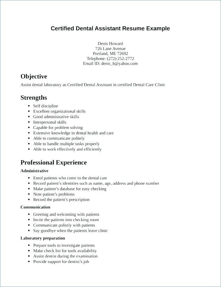 36 Fresh Dental Assistant Resume Skills Examples for Pics