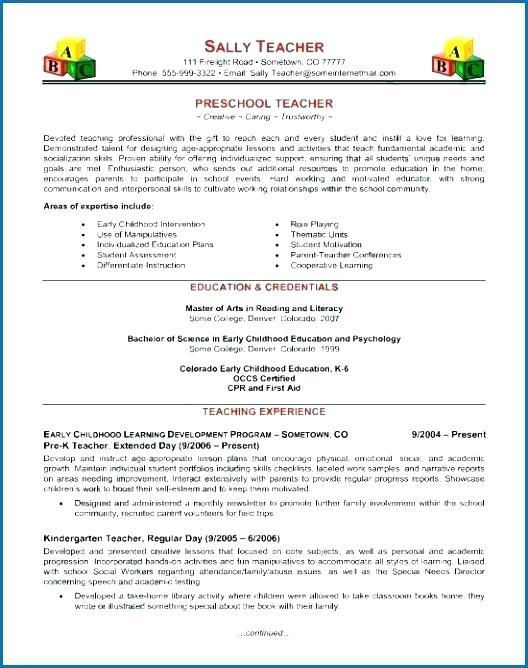 36 Lovely Early Childhood Education Resume Examples with Gallery