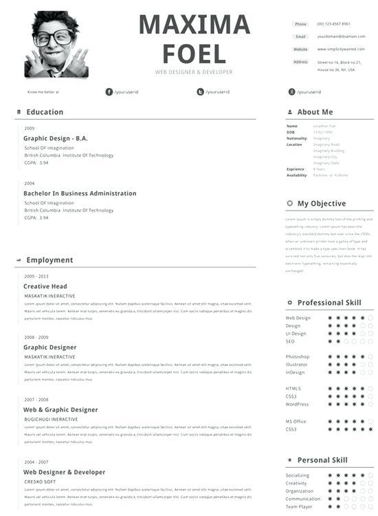37 Cool Free Pages Resume Templates with Pics