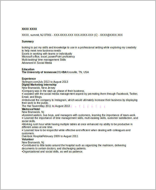 38 Great Entry Level Marketing Resume with Graphics