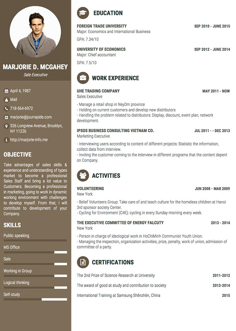 38 Top One Page Curriculum Vitae by Images