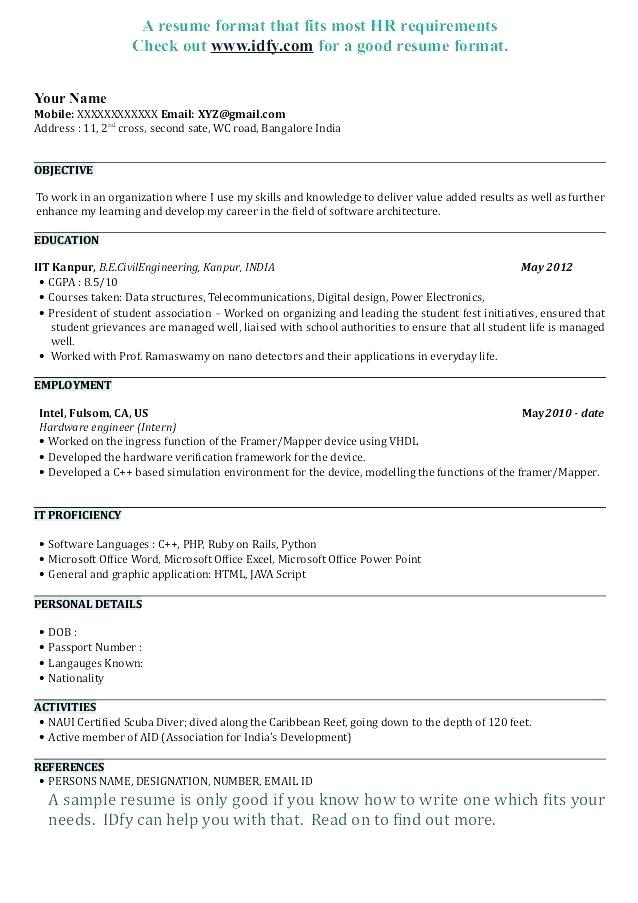 39 Excellent Cv Format For Software Engineer for Pics