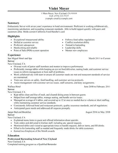 39 Nice Food Runner Resume for Ideas