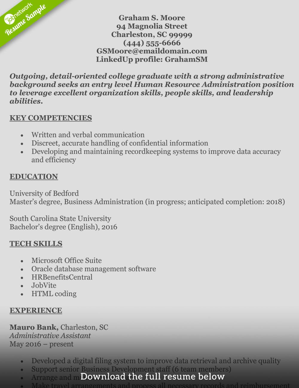 39 Top Entry Level Human Resources Resume by Graphics
