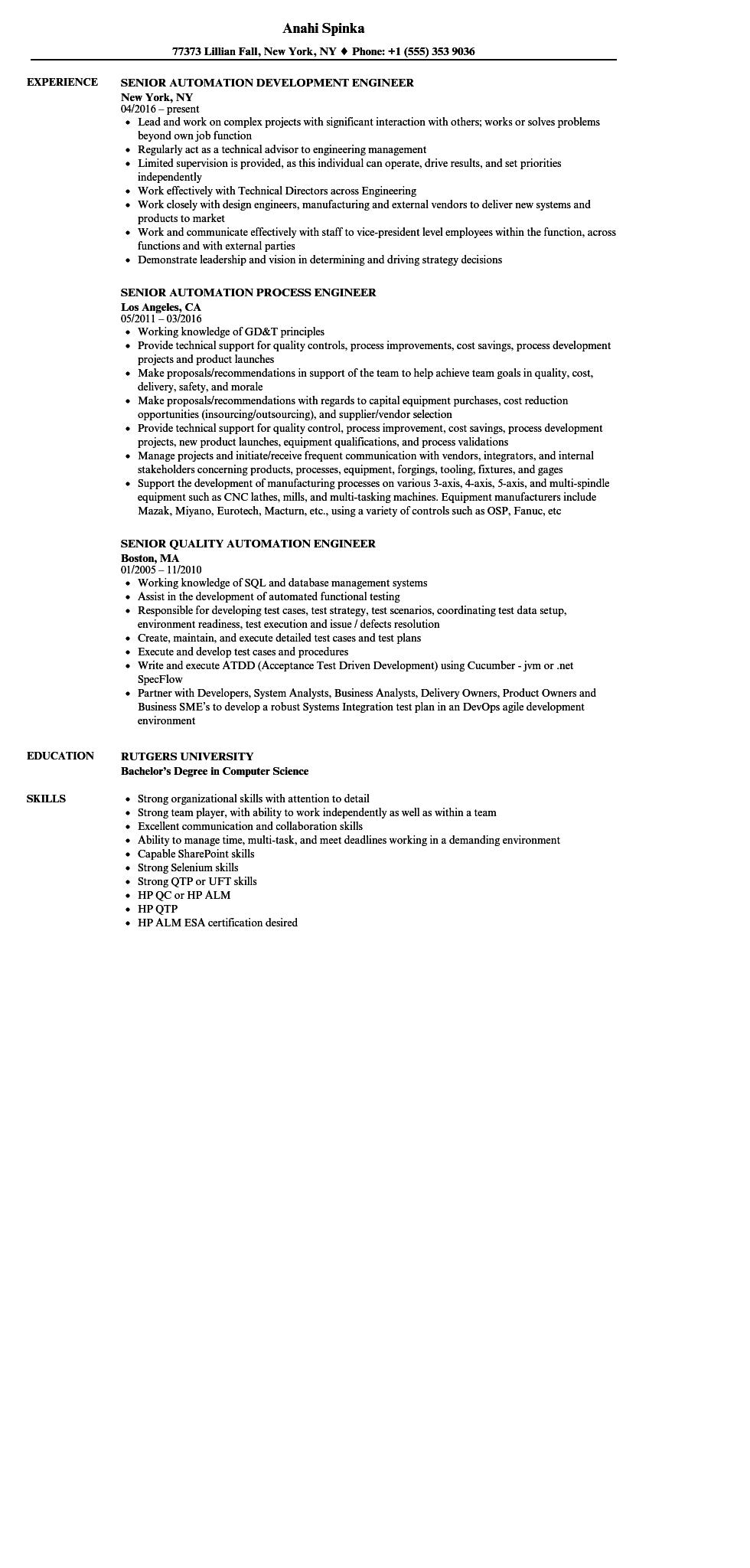 40 Lovely Automation Engineer Resume for Gallery