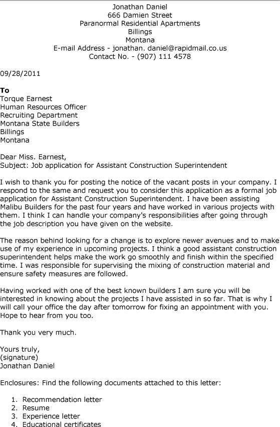 40 Lovely Construction Superintendent Resume Cover Letter Examples for Images