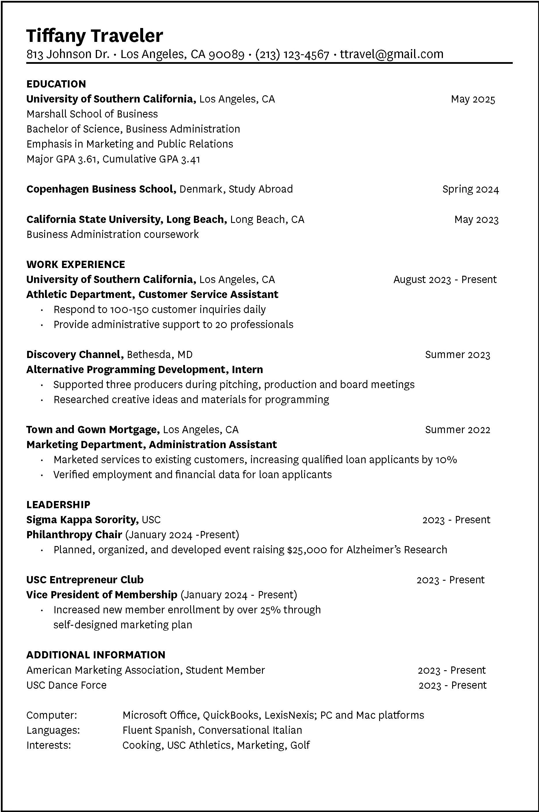 40 New Usc Marshall Resume Template with Graphics