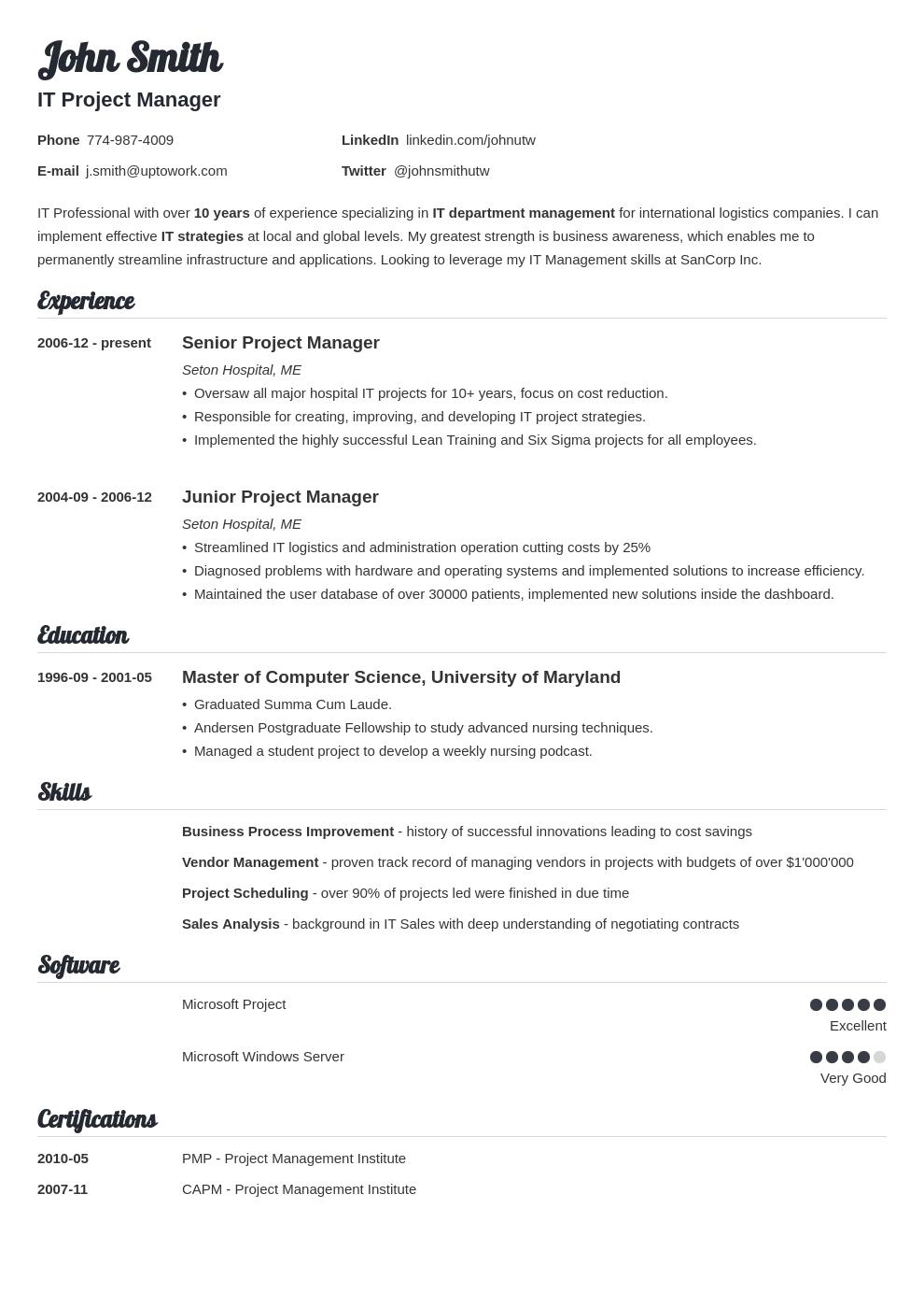 40 Stunning Best Resume Templates For It Professionals for Ideas