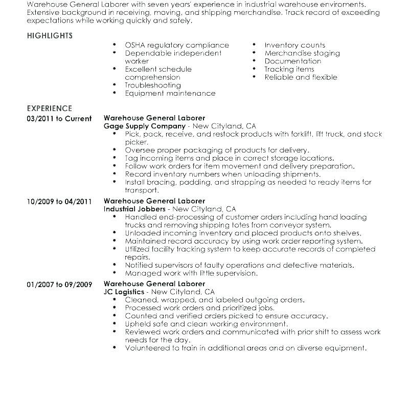 General Labour Resume Sample