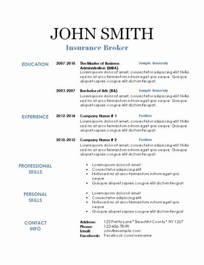41 Nice Printable Resume Templates for Gallery