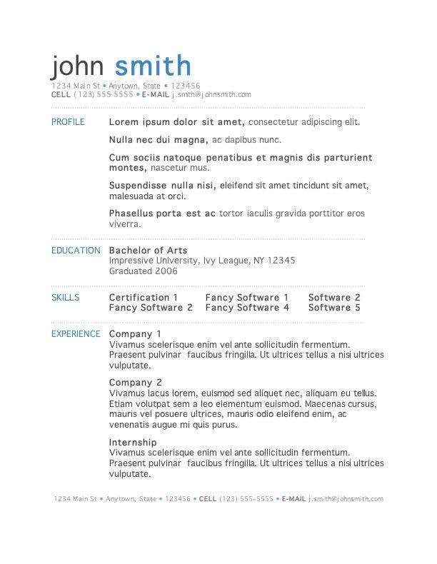 42 Fresh Simple Resume Template Word for Images