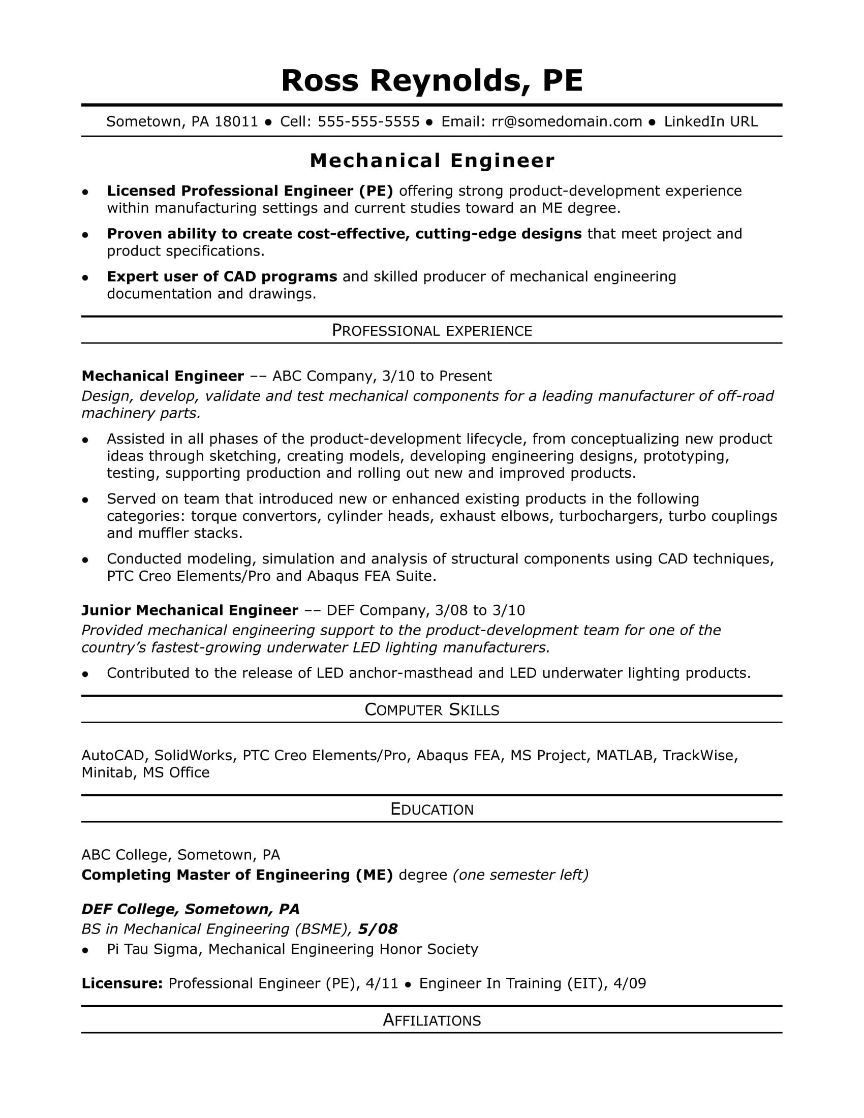 42 New Mechanical Engineer Resume Sample with Pics