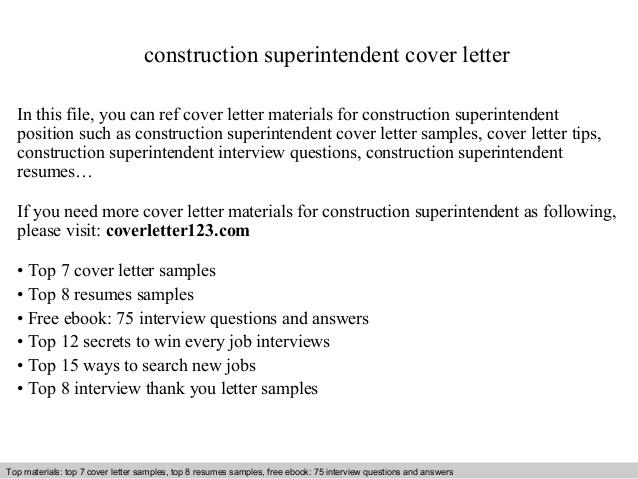 42 Top Construction Superintendent Resume Cover Letter Examples by Pics