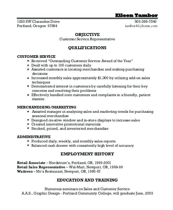 43 Excellent Customer Service Resume Objective Or Summary Examples by Images