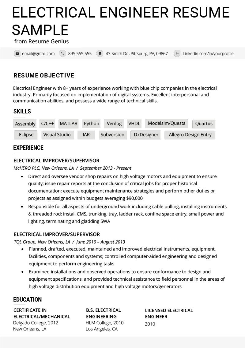 43 Top Electrical Engineering Resume Sample For Freshers by Pictures